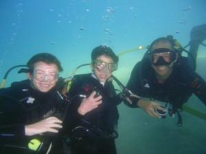 underwater photo with boys