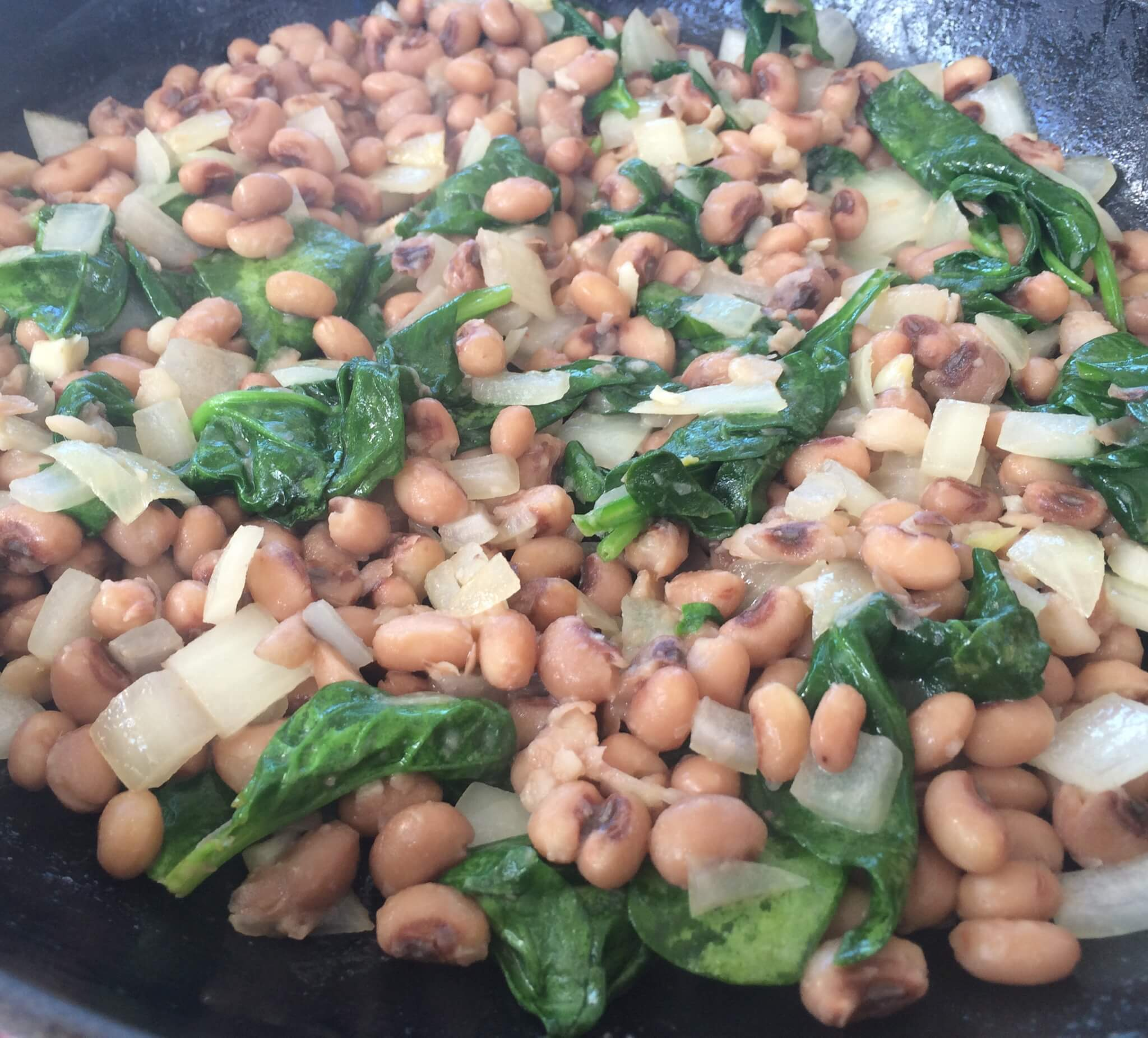 Sauteed Black Eyed Peas and Spinach
